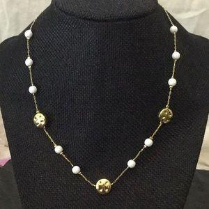 "VtgMonet15""W/2""Ext.Gold Necklace W/3 WhiteBds&3Gld"